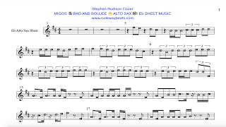 migos bad and boujee eb alto sax notes
