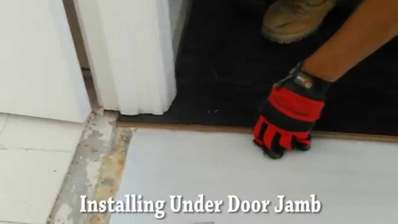 Installing laminate wood flooring under cut door jamb youtube dailygadgetfo Images