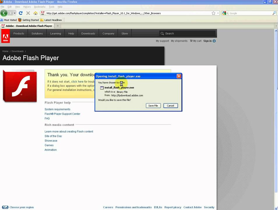 how to update adobe flash player on windows