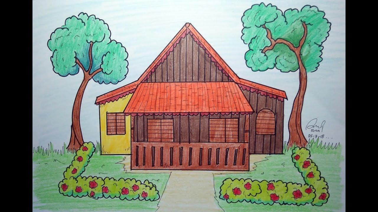 Cara Mudah Menggambar Rumah Adat Kebaya
