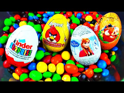 Digging for Surprise Egg Treasure in M&Ms Candy Disney Frozen Angry Birds Lion King Kinder FluffyJet