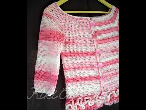 22e3773e42d3 Πλεκτη Παιδικη Ζακετα (μερος 3ο) / Crochet Cardigan Tutorial (part 3 ...