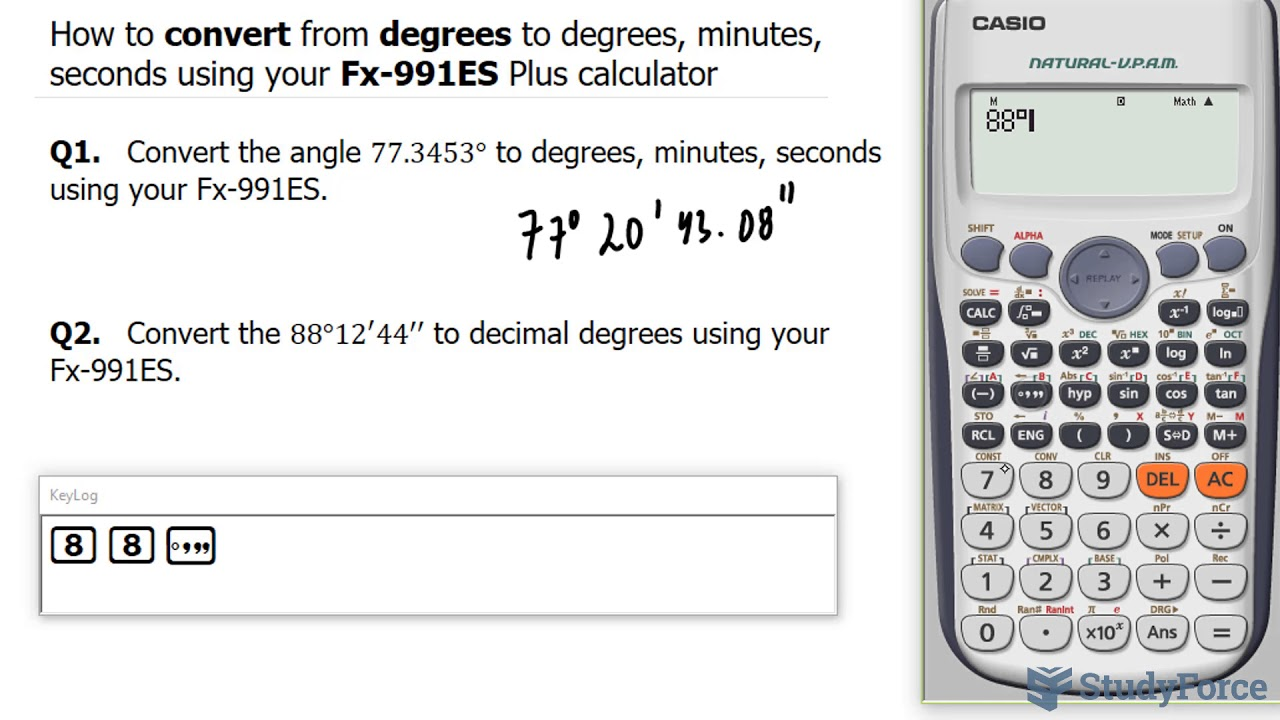 📚 How to convert from degrees to degrees, minutes, seconds using your  Fx-18ES Plus calculator