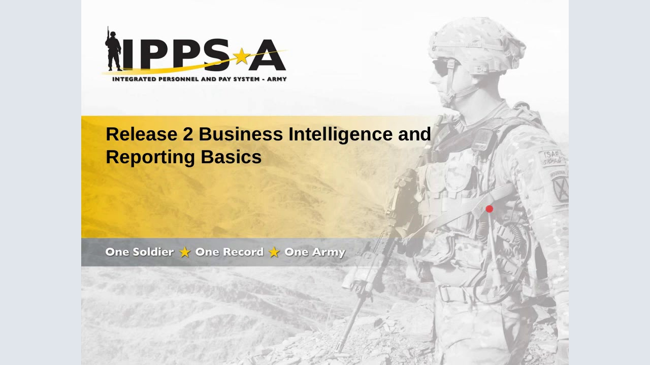 This is the first installment of the IPPS-A live stream of training. Topics covered in this training are reports and queries, Oracle Business Intelligence Enterprise Edition (OBIEE) and Business Intelligence (BI).