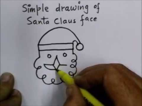 Line Drawing Santa Face : How to make a simple face of santa claus youtube