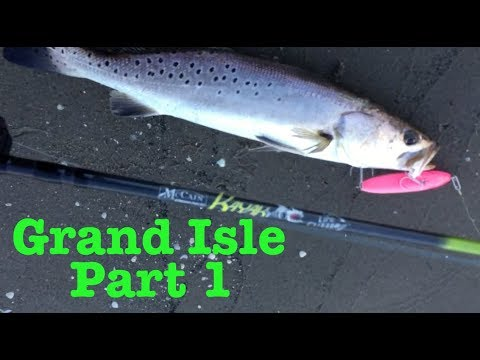 PART 1 - Grand Isle Louisiana - Bank Fishing For Trout With Topwater