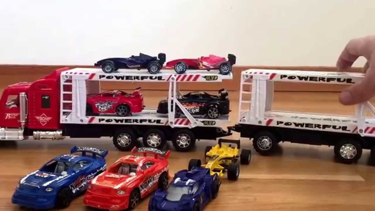 Cool Toys Cars : Kids truck transporter for racing cars cool toy video