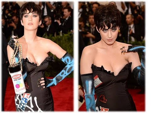 Katy Perry showed off her pixie crop, which left her heavy cleavage on display at the Met Gala on Mo thumbnail