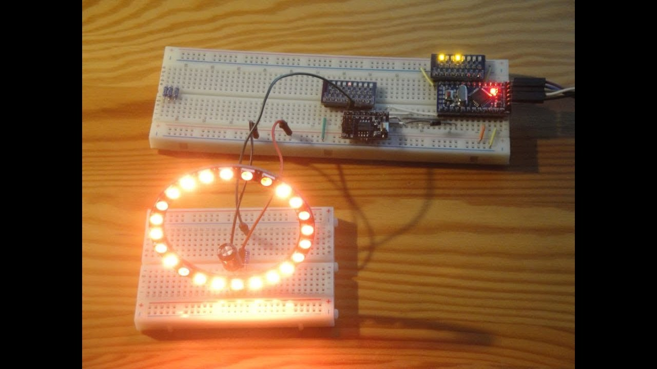 ATtiny85 NeoPixel Ring Fire Simulation