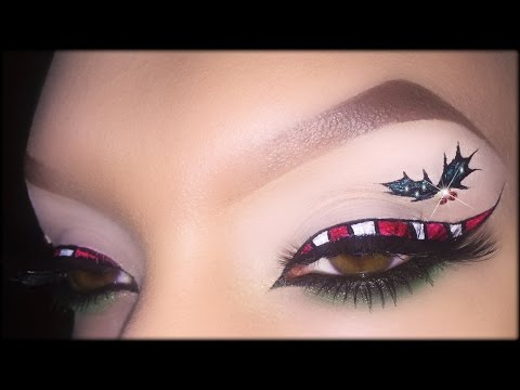 Candy Cane Eyeliner - Christmas Makeup Tutorial inspired by BeautifulYouTV & MadeYewLook