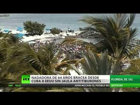 Una mujer de 64 años nada por primera vez de La Habana a Florida sin jaula contra tiburones