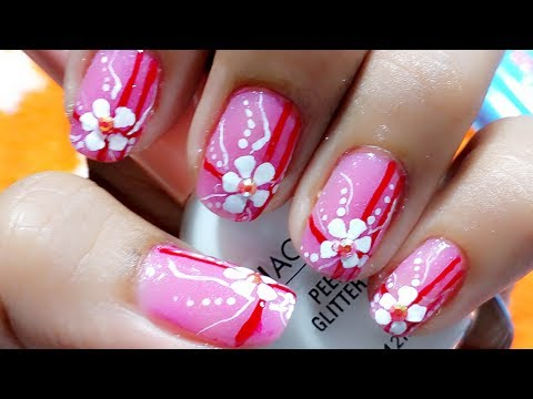 easy floral nail art for beginners at home using acrylic