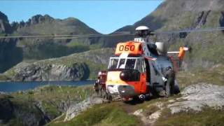 Sea king rescue action  Munkebu Lofoten ( Norway Aug 2010)