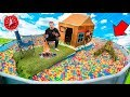 24 Hour BOX FORT BOAT In BALL PIT Pool! Scary 3 AM Monster CHALLENGE