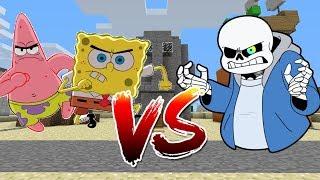sans vs spongebob and patrick in minecraft
