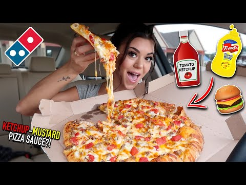Trying the Cheeseburger & Taco Pizza from Dominos!!