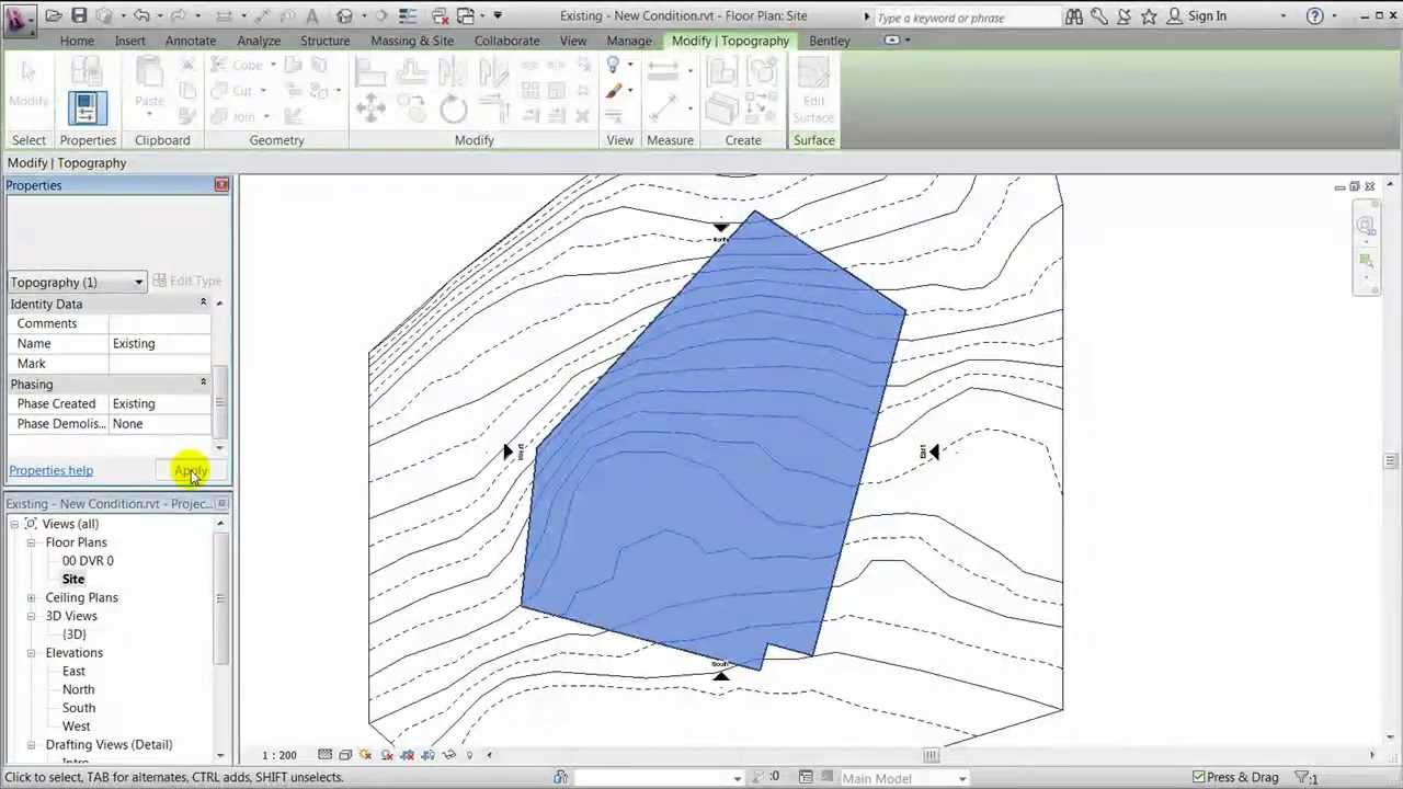 Site Plan Revit : Revit site modelling existing and new conditions