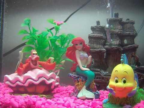 Disney the little mermaid aquarium youtube for Little mermaid fish tank decor