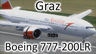 FSX | Austrian Airlines 777 Landing at Graz Airport (LOWG) (Multiple Views)