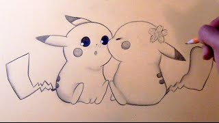 Drawing: Pikachu Chibi Kiss