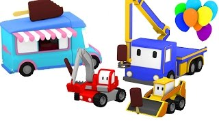Ice Cream Truck in the Amusement Park with Tiny Trucks : bulldozer + crane + excavator
