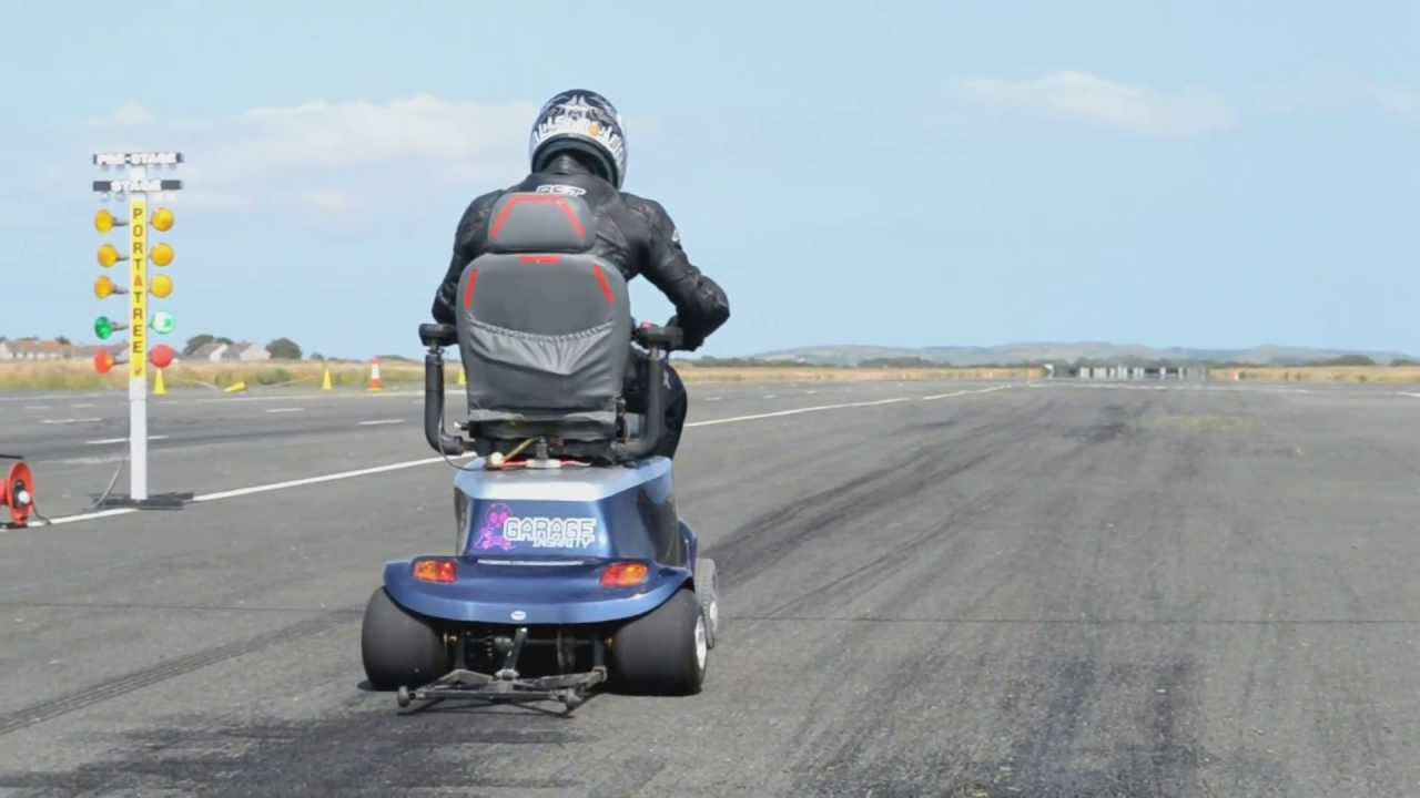 World S Fastest Mobility Scooter 1 4 Mile Run 100mph Youtube