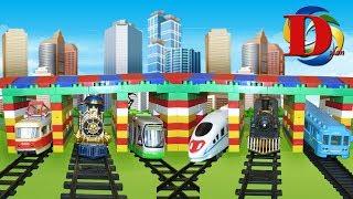 Железная дорога Мультик про Машинки. Виды железнодорожного транспорта. Сапсан. Метро. Поезд.Трамвай.