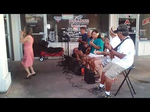 Etsuko hula while Uncle Harry Akioka, Glenn & Joice Alapag & Paul Levey...