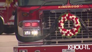 Raw Video: Houston firefighters march, casket escorted in firetruck at Jerry Pacheco funeral