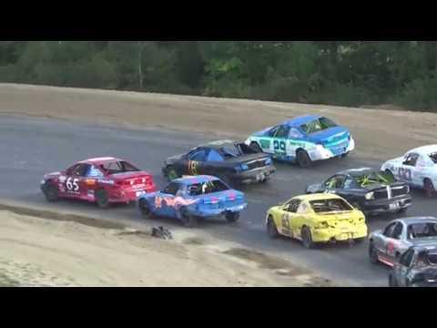 Flinn Stock 3 Wide Start Feature Race at Crystal Motor Speedway, Michigan, on 09-16-2018!!!