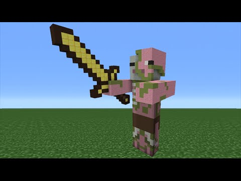 Minecraft tutorial how to make a zombie pigman statue for Zombie build