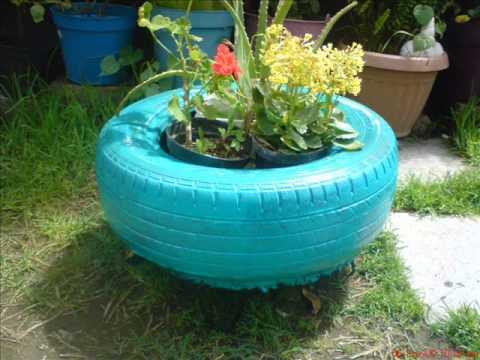 Muebles y masetas ecologicas fabricadas con llantas de - Como arreglar mi jardin con poco dinero ...
