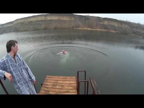 зимнее купание в чистой воде! карьер Эльдорадо