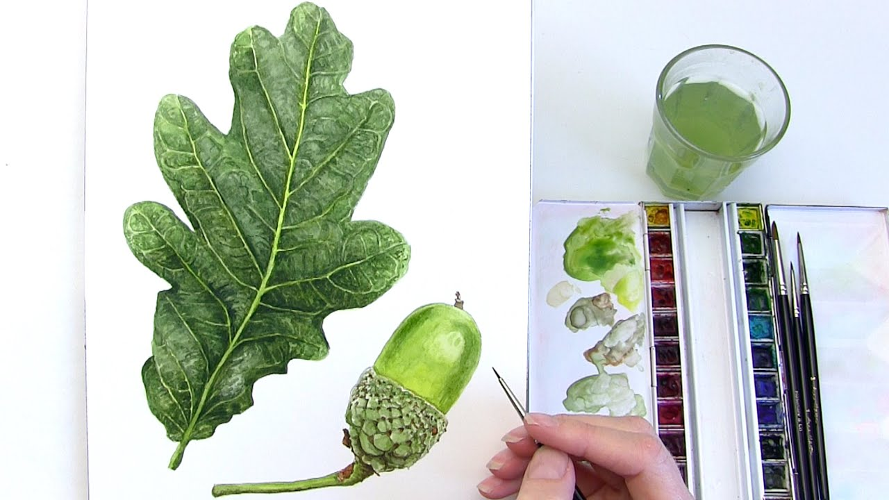 how to paint a realistic leaf in watercolour youtube