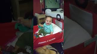 Baby Laughs Hysterically at Hot Mom - Falls head over heels thumbnail