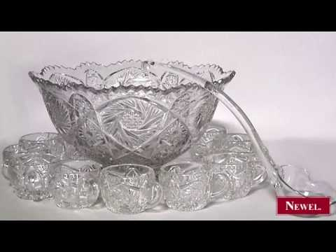 antique american victorian cut crystal punch bowl set youtube. Black Bedroom Furniture Sets. Home Design Ideas