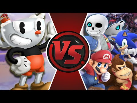CUPHEAD vs SMASH ULTIMATE! (Cuphead vs Sans, Mario, Sonic, Ridley & More!) Cuphead Animation! - 동영상
