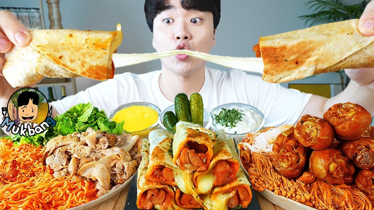 ASMR MUKBANG 불닭볶음면 & 치즈 스틱 & 양념 치킨먹방! FIRE Noodle & FRIED CHICKEN & CHEESE STICK EATING SOUND!