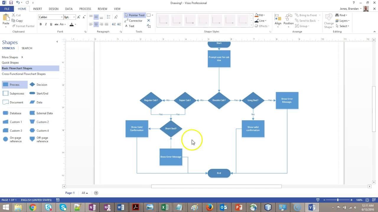 logic diagram in visio flowcharting decision logic  if tests  youtube  flowcharting decision logic  if tests
