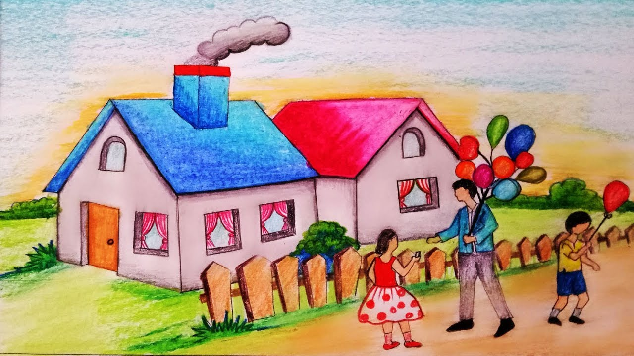 How to draw scenery of balloon seller is selling balloons Step by stepeasy  draw