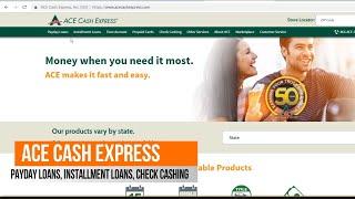 ACE CASH EXPRESS ONLINE LOANS, ACE ELITE PREPAID DEBIT CARD, CHECK CASHING,ACE FLARE ACCOUNT
