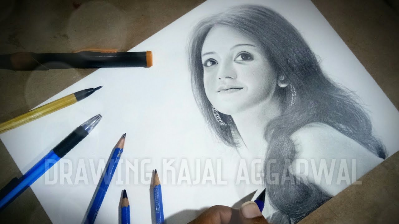 Drawing kajal agarwal perfect pencil drawing how to draw realistic portrait drawing tollywood