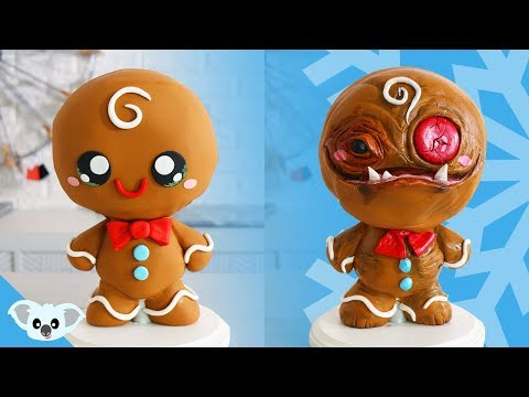 CHRISTMAS GINGERBREAD MAN CAKE | Cute and Scary Christmas 2 Faced Ideas| Amazing Cakes | Koalipops