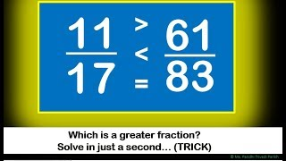 IMP Math Trick : Comparison Of Fractions: Which Fraction is Bigger???