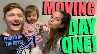 PICKING UP THE KEYS TO OUR NEW HOUSE + MOVING DAY 1!! *HOUSE SERIES*