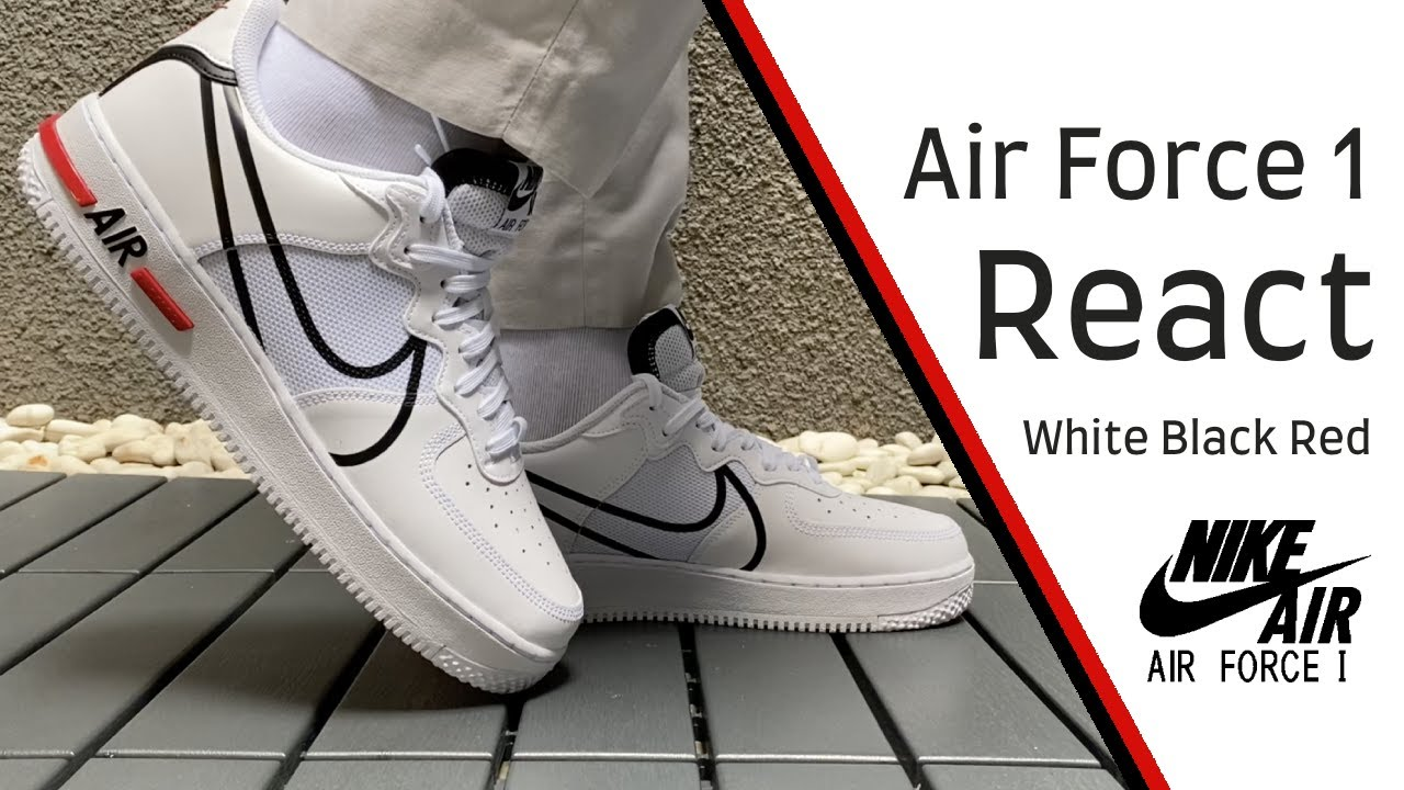 Air Force 1 07 White Black Swoosh On Feet Close Up 360