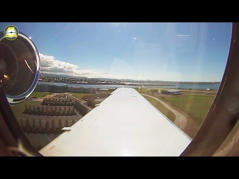 Passenger View from Hahn Air VIP Business Jet Landing in Reykjavik on a beautiful day. [AirClips]