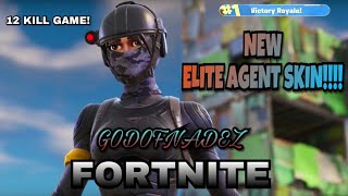 *NEW ELITE AGENT SKIN & DARK MATTER BACKBLING* 12 KILL GAMEPLAY (FORTNITE BATTLE ROYALE) -GODOFNADEZ