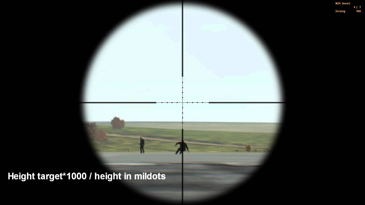 Arma Ii: Dayz Tutorial  Estimate Target Distance With Scope Mildots   Youtube