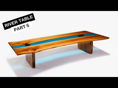 Epoxy River Table with Live Edge & LED Lights - Part 5